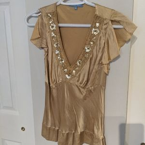 Vintage V-Neck 100% Gold Silk Blouse